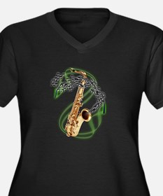 Tenor Saxophone Women's Plus Size V-Neck Dark T-Sh