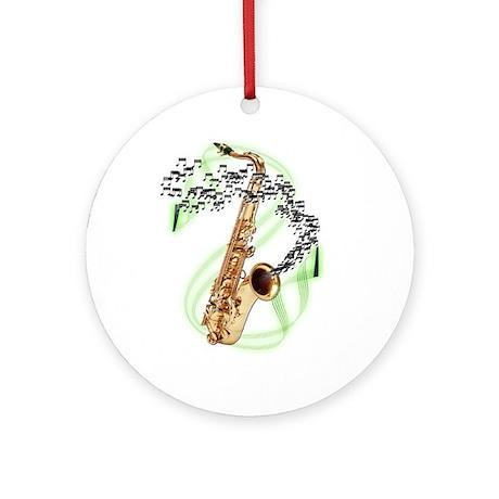 Tenor Saxophone Ornament (Round)