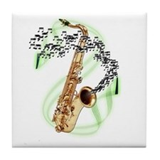 Tenor Saxophone Tile Coaster