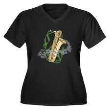 Baritone Saxophone Women's Plus Size V-Neck Dark T