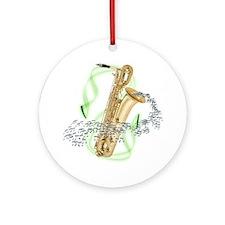 Baritone Saxophone Ornament (Round)