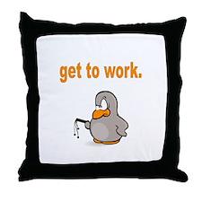 Get to Work Penguin Throw Pillow