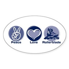 Peace Love Rollerblade Oval Decal