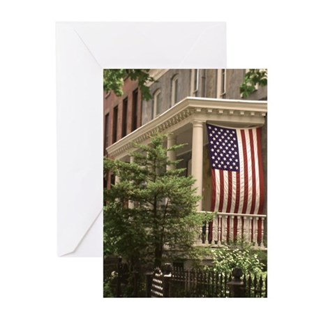 Clinton Hill American Flag Greeting Cards (Package