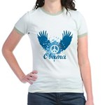 Obama Peace Symbol Jr. Ringer T-Shirt