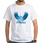 Obama Peace Symbol White T-Shirt