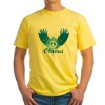 Obama Peace Symbol Yellow T-Shirt