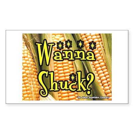 Wanna Shuck? Corn Rectangle Sticker