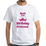 Aunt of the 1st Birthday Prin White T-Shirt