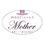 Most Loved Mother Oval Sticker