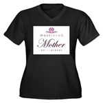 Most Loved Mother Women's Plus Size V-Neck Dark T-