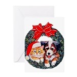 Christmas pet wreath Greeting Card