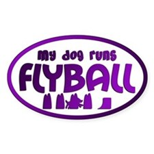 My Dog Runs Flyball Oval Sticker (Purple)