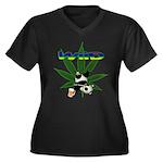Wiid Panda Women's Plus Size V-Neck Dark T-Shirt