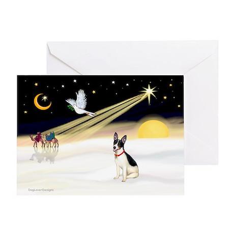 XmasDove/Rat Terrier 1 Greeting Card