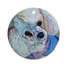 White Poodle Ornament (Round)