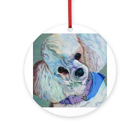 White Poodle Ornament (Round)