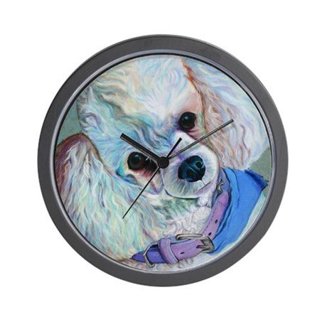 White Poodle Wall Clock