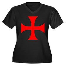 Cross Pattee Women's Plus Size V-Neck Dark T-Shirt