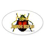 I love Japanese Beetles Oval Sticker