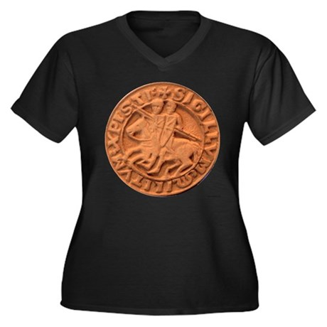 Wax Templar Seal Women's Plus Size V-Neck Dark T-S