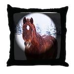 Horse in Winter Wonderland Throw Pillow
