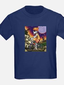 Day of the Dead Skeleton Bike Rider Kids T-Shirt