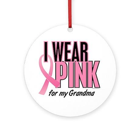 I Wear Pink For My Grandma 10 Ornament (Round)