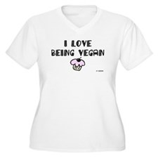 I love Being Vegan Plus Size Tee with cupcake