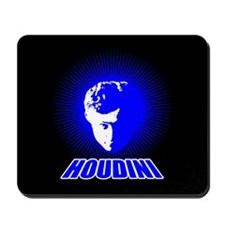 Houdini Face Mouse Pad, Blue on Black