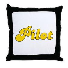 Retro Pilot (Gold) Throw Pillow