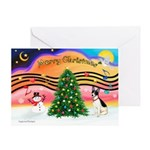 XmasMusic1/Rat Terrier 1 Greeting Card