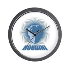 Houdini Face Wall Clock, Blue on White, No Numbers