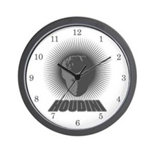 Houdini Face Wall Clock, Dark Gray on White