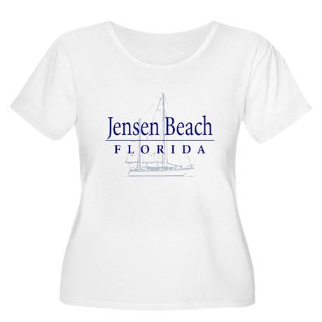 Jensen Beach Sailboat - Women's Plus Size Scoop Ne