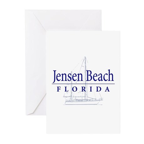 Jensen Beach Sailboat - Greeting Cards (Pk of 20)