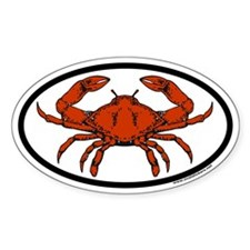 Steamed Crab Euro Oval Sticker with Crab