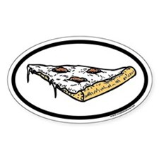 Pizza Euro Oval Sticker with Pizza Graphic