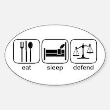 Eat Sleep Defend Oval Decal