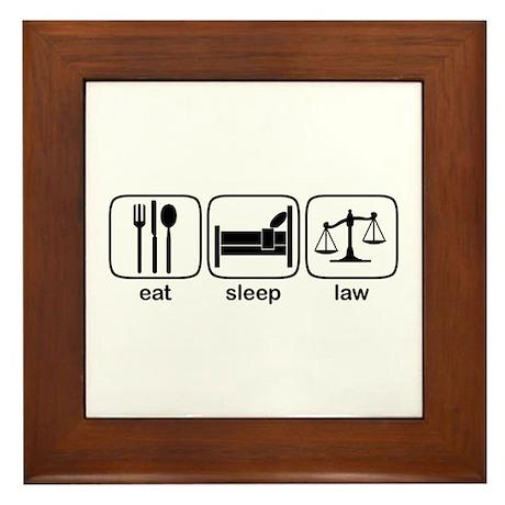 Eat Sleep Law Framed Tile