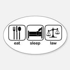 Eat Sleep Law Oval Decal
