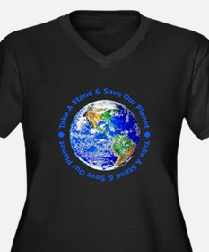 Save Our Planet! Women's Plus Size V-Neck Dark T-S