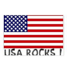 USA ROCKS ! (Black) Postcards (Package of 8)