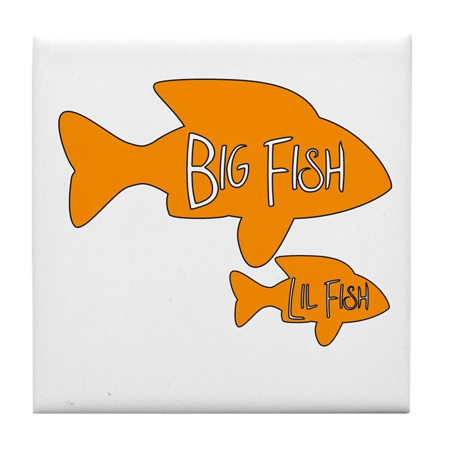 Big fish little fish tile coaster by jembiecreations for Big fish little fish