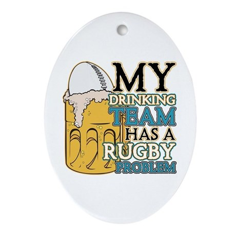 Rugby Drinking Team Oval Ornament
