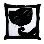 Abstract Black Cat Throw Pillow