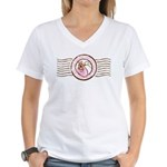 Precious Contents Stamp Pink Women's V-Neck T-Shir