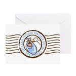 Precious Contents Stamp Blue Greeting Cards (Pk of