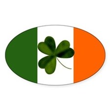Irish Flag & Shamrock Oval Decal
