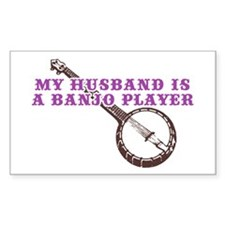 My Husband is a Banjo Player Rectangle Decal